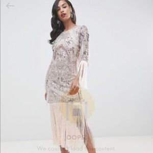 Fringe & Beaded Mid Dress